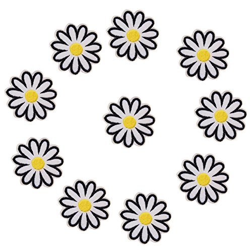 XUNHUI White Flowers Patch Iron On Sew DIY Craft Patches Embroidered Applique Clothes Decor Accessories 10 Pieces (Patch Case Flower)