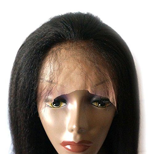 Enoya Hair Best Italian Yaki 360 Lace Frontal Wig Pre Plucked Brazilian Remy Lace Human Hair Wigs for Black Women 180 Density (20'') by Enoya (Image #4)