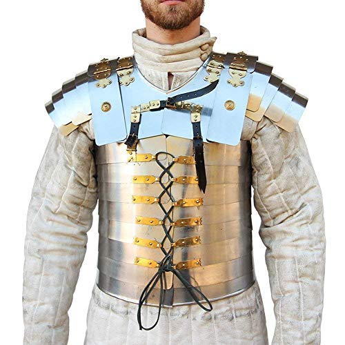 AnNafi Lorica Segmentata Roman Soldier Military Body Armor Suit 20g Steel | Medieval Warrior Costume SCA LARP