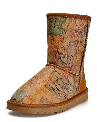ZLYC Womens Girls Retro Style World Map Print Mid-Calf Winter Warm Snow Boots Camel, US 6.5