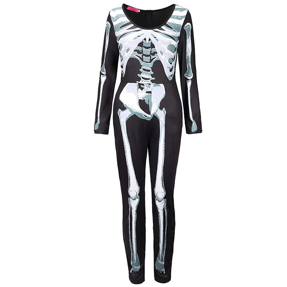 NFY Mujer Halloween Disfraz Esqueleto Mono Sexy Traje Mascarada ...