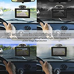 Pyle PLCM4700 Car Vehicle Rearview Backup Camera & Monitor Parking/Reverse Assistance System, 4.7\'\' Display, Distance Scale Lines, Waterproof Night Vision Cam, Swivel Angle Adjustable