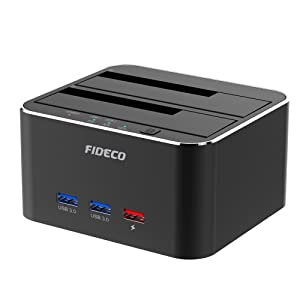 "Hard Drive Docking Station, FIDECO USB 3.0 to SATA HDD Docking Station Dual-Bay External Hard Drive Dock with Offline Clone Function for 2.5""/3.5"" SATA HDD SSD Drives, Support 2X 10TB, Black"