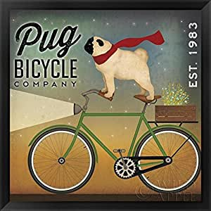 FRAMED Pug on a Bicycle Company by Ryan Fowler 12x12 Art Print Poster Dogs Sign
