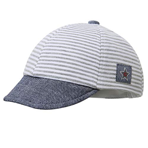 vivobiniya Newborn Boy Summer Hats Baby Sun Hats Little Bear Baseball Cap 0-4y (0-3 Months, Gray Stripe) (Best Baby Sun Hat)