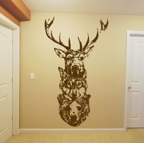Wall Window Sticker Decal Totem Wolf Bear Deer Elk Animal Horns Country Hunting Hunter Boys Bedroom 1268b