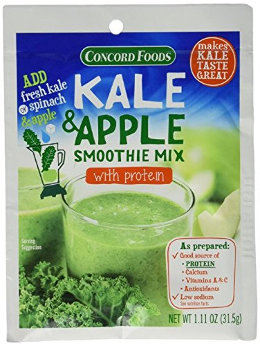 Concord Foods Kale & Apple Smoothie Mix with Protein (18-pack) 1.11 oz Packets by Concord Foods