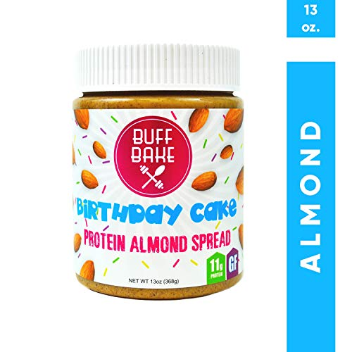 Protein Almond Butter - Nut Butter Spread with 11 Grams of Whey Protein, Gluten Free, Non-GMO (Birthday Cake, 13 oz)