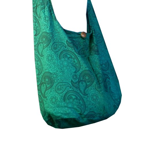 Emerald Green Bag - BTP! Thai Cotton Hippie Hobo Sling Crossbody Bag Messenger Purse Paisley Print Large (Emerald Green PL27)
