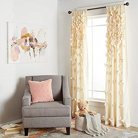 """Lush Decor Riley Curtain Sheer Ruffled Textured Bow Window Panel for Living Dining Room 84/"""" x 54/"""" Bedroom Single White"""