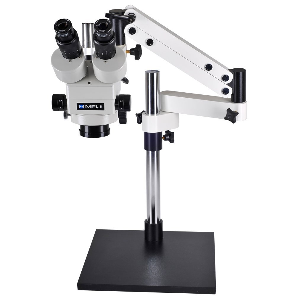 Meiji Techno EMZ8TR-V7 7X-45X Zoom Trinocular Stereo Boom Microscope, LED Ring Light by Meiji Techno