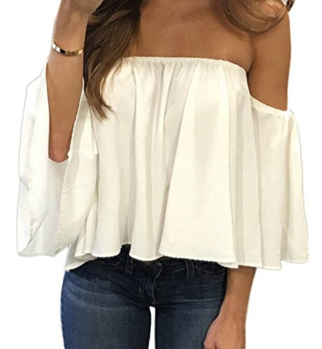 ff The Shoulder Tops Summer Chiffon Blouses Crop Tops for Ladies Teens Juniors ()