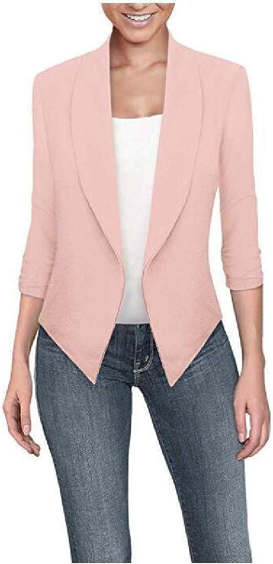 pipigo Women Cardigan Long Sleeve Irregular Hem Work OL Blazer Jacket Suit Coat