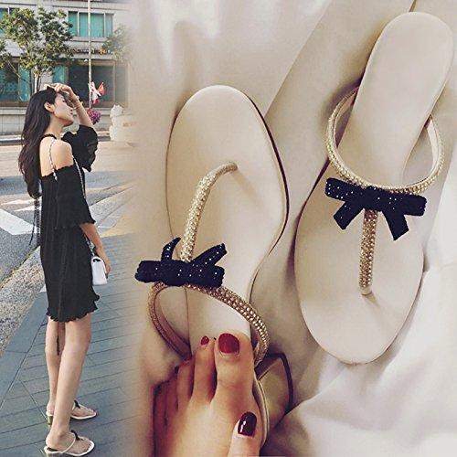 AWXJX Sommer- Frauen Flip Flops Zuziehen Flops flip Künstliche Diamanten Bow Tie Dick mit