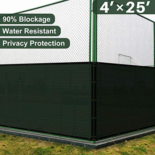Coarbor 4' x 25' Privacy Fence Screen with Brass Grommets Heavy Duty 130GSM Pefect for Outdoor Back Yard Patio and Deck Green