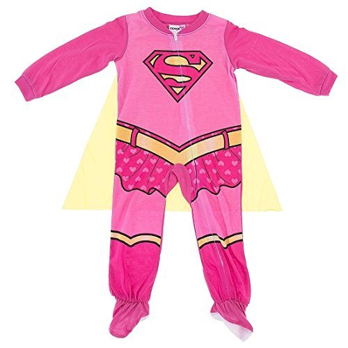 Supergirl Girls Costume Sleeper Pajamas with Cape (18M) -