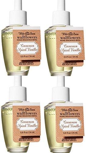 Bath and Body Works 4 Pack Cinnamon Spiced Vanilla Wallflowers Fragrance Refill. 0.8 Oz