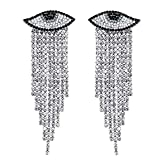 LAXPICOL New Fashion Sparkly Crystal Rhinestone Eye Shape Long Tassel Chain Wrap Earrings Stud Earrings Dangle Earrings