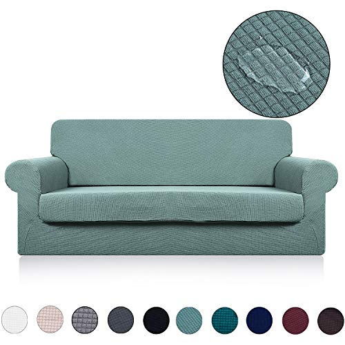 Couch Cover with Separate Seat Cushion Cover(2 Pieces Set) - Water Repellent,Knitted Jacquard,High Stretch - Living Room Sofa Slipcover/Protector/Shield for Dog Cat Pets(3 Seater Sofa,Sage) ()