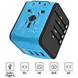 Universal/International Travel Power Adapter All-in-one with 3.4A 3 USB + 1 Type-C Wall Charger,Worldwide AC Wall Outlet Plugs for Europe, UK, US, AU, Asia Over 170 Countries-Blue-High Performance New