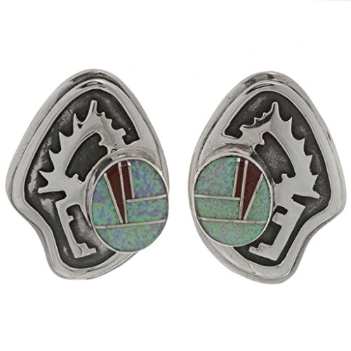 Inlaid Opal Silver Post Earrings Southwest Overlaid Sterling 3318