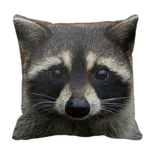 Generic Custom Pillow With Filler Cute Young Raccoon Face Mask And Stare Close Up 18 X 18 yqy2016