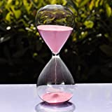 Large Fashion Colorful Sand Glass Sandglass Hourglass Timer Clear Smooth Glass Measures Home Desk Decor Xmas Birthday Gift (Pink, 30 Minutes)