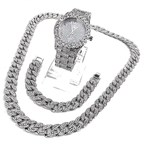 Prisa Times 14k White Gold Plated Iced Out Techno Pave Men Watch, Cuban Chain & Bracelet Set (All of (14k Gold Womens Watch)
