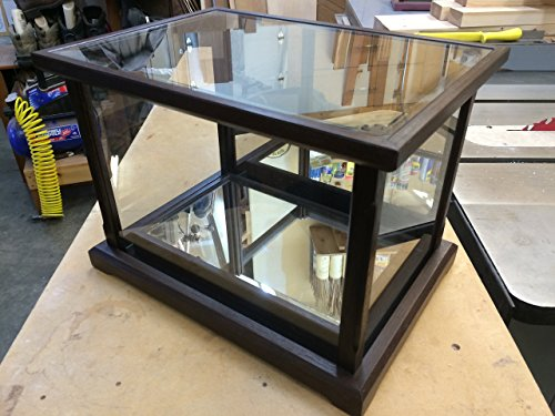 Walnut Base Bottom (Wood / Glass - Display Case for Collectables -- Peruvian Walnut/w Matching Mirrored Bottom Base)