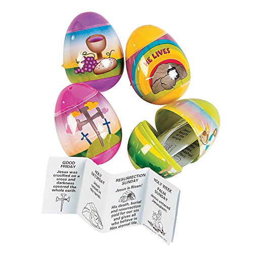 Fun Express - Filled Resurrection Eggs for Easter - Party Supplies - Containers & Boxes - Plastic Containers - Easter - 12 Pieces