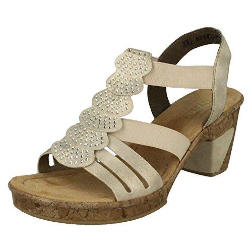 Rieker 69702 Womens Heeled Sandals Beige
