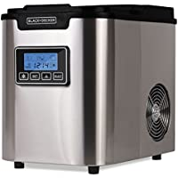 BLACK+DECKER Ice Maker - Portable Countertop Ice Cube Machine for Cold Drinks with Choice of 3 Ice Cube Sizes- Stainless Steel with Black Lid (BIMY126S)