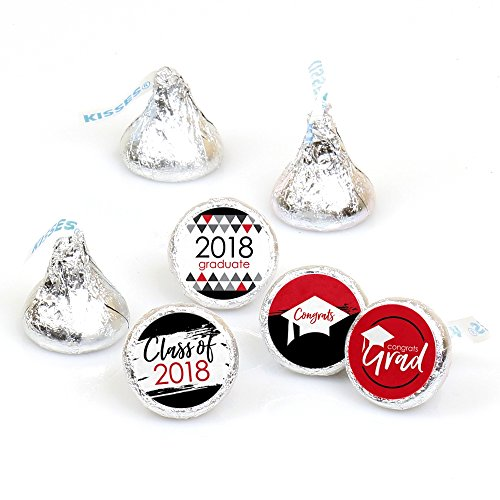 Red Grad - Best is Yet to Come - Red 2018 Graduation Party Round Candy Sticker Favors - Labels Fit Hershey's Kisses (1 Sheet of 108) -