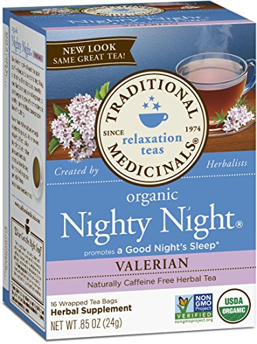 Traditional Medicinals Organic Nighty Night Valerian Relaxation Tea, 16 Tea Bags (Pack of - Bed Licorice Full