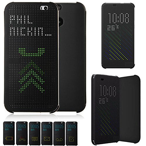 Microtimes For HTC ONE M9 DOT VIEW Hc M231 Flip Case Cover (Black)
