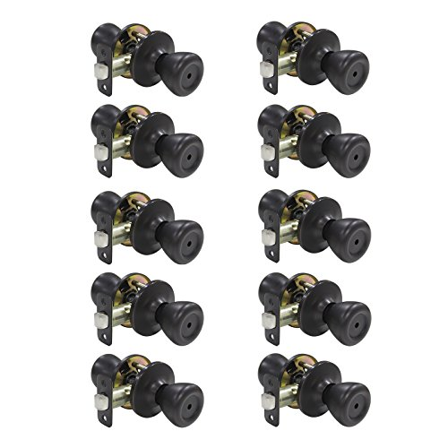 10 pack Interior Door Lock Door Privacy Door Locks Handle Security Storage Room Bathroom Door Knobs Lock Keyless 576-BK, Oil Rubbed Bronze by Probrico