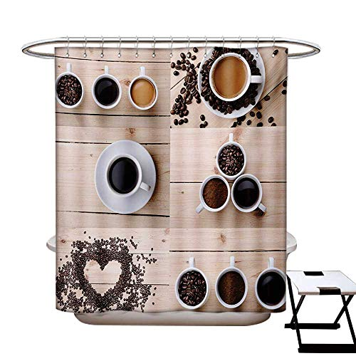 Kitchen Shower Curtain Customized Collage of Different Coffee Details on Wooden Table Mugs Beans Organic Concept Bathroom Accessories W72 x L84 Brown Black Tan
