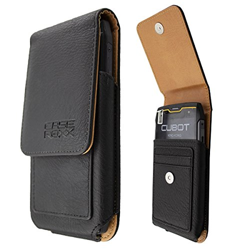caseroxx Outdoor Case for Cubot King Kong Made of Real Leather with Belt-Clip in Black
