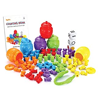 JOYIN Play-Act Counting Sorting Bears Toy Set with Matching Sorting Cups Toddler Game for Pre-School Learning Color Recognition STEM Educational Toy-72 Bears, Fine Motor Tool, Dice and Activity Book