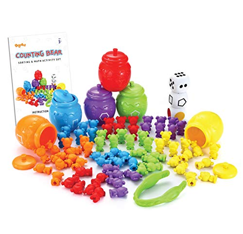 JOYIN Play-Act Counting/Sorting Bears Toy Set with Matching Sorting Cups Toddler Game for Pre-School Learning Color Recognition STEM Educational Toy-72 Bears, Fine Motor Tool, Dice and Activity Book -