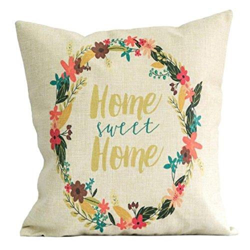 [Ikevan Wreath Pillowcase Linen Square Throw Flax Pillow Case Decorative Cushion Pillow Cover Beige (18