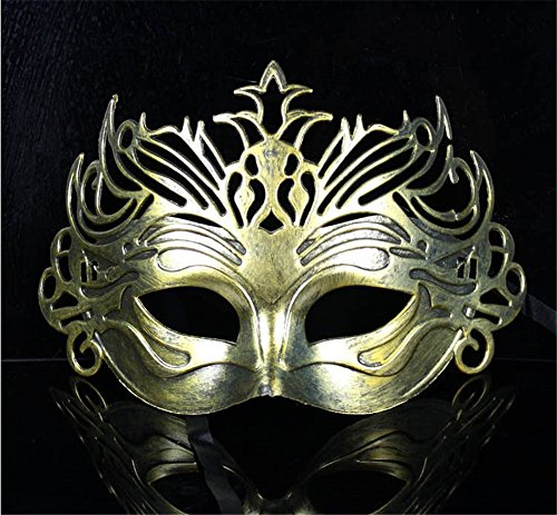 Mardi Gras Party Masquerade Mask,Vintage Rome Gladiator Crown Mask Antique Half Face Men and Women Eye Mask Party Ball Performance Festival Supplies Gold Prom Masks]()