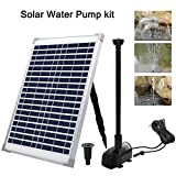 XXK Solar Fountain Water Pump Kit 20 W, 360GPH Submersible Powered Pump and 20 W Solar Panel for Sun Powered Fountain, Fish Pond, Pond Aeration, Hydroponics, Garden Decoration, Aquaculture