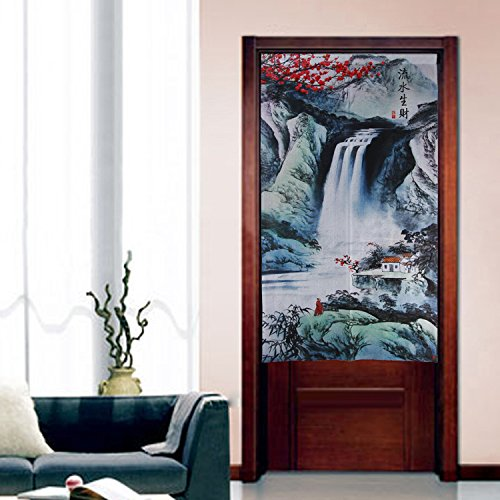 Chinese Traditional Ink Landscape and Plum Trees Washpainting Door Curtain Noren Bedroom Doorway Curtain (Dark Green)