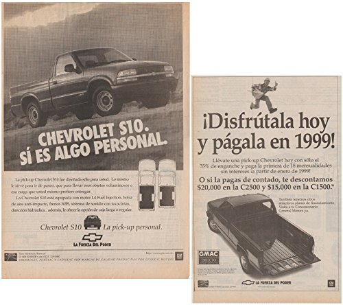 1998 CHEVROLET S10 PICKUP & C1500/C2500 PICKUP LOT of 2 LARGE VINTAGE NEWSPAPER NON-COLOR AD ADS - MEXICO - NICE !! ()