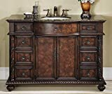Stufurhome GM-5116-48-BB 48-Inch Amelia Single Vanity in Dark Cherry Finish with Granite Top in Baltic Brown with White Undermount Sink