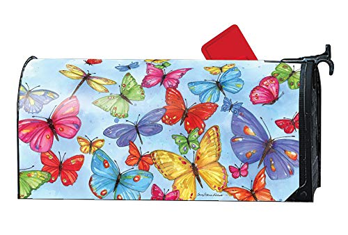 Weather Vinyl Mailbox Cover - MailWraps Studio M Brilliant Butterflies Decorative Spring Summer Oversized, The Original Magnetic Mailbox Cover, Made in USA, Superior Weather Durability, Large Size fits 8W x 21L Inch Mailbox