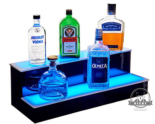 2 Step Led Lighted Bottle Display Shelf with LED Color Changing Lights, LED lighting packed 44 key, IR Remote Control (24