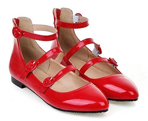 Showhow Womens Comode Scarpe A Punta Piatta Con Cerniera E Cinturino Alla Caviglia Con Tripla Fibbia