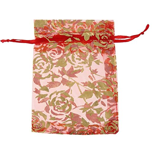 KUPOO Pack of 50PCS 5X7 Inch Drawstring Organza Bag Jewelry Favor Pouch with Gold Rose Print for Gift/Wedding/Party/Festival (RED)